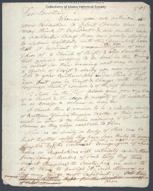 Letter from Ephraim Stinchfield, New Gloucester, 1795