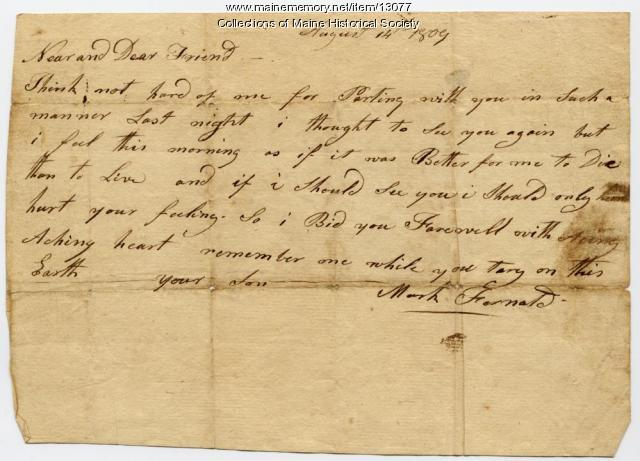 Note from Mark Fernald, 1809