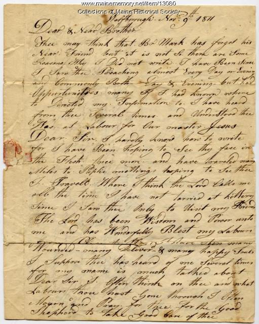 Letter from Mark Fernald to Ephraim Stinchfield, 1811