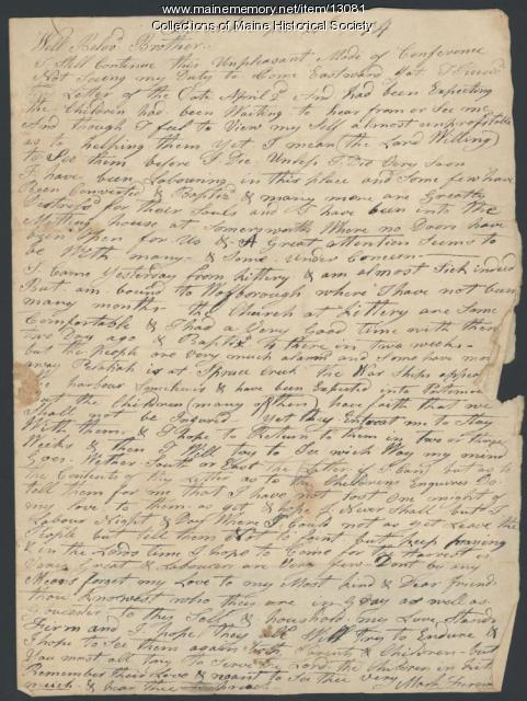 Letter from Mark Fernald to Ephraim Stinchfield, 1814