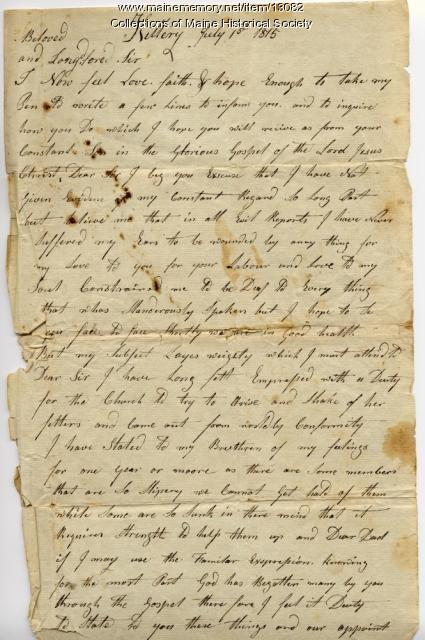 Mark Fernald letter to Ephraim Stinchfield, 1815