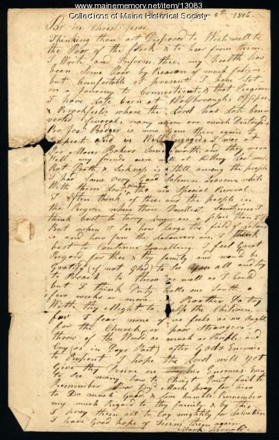 Mark Fernald letter from Boston to Ephraim Stinchfield, 1816