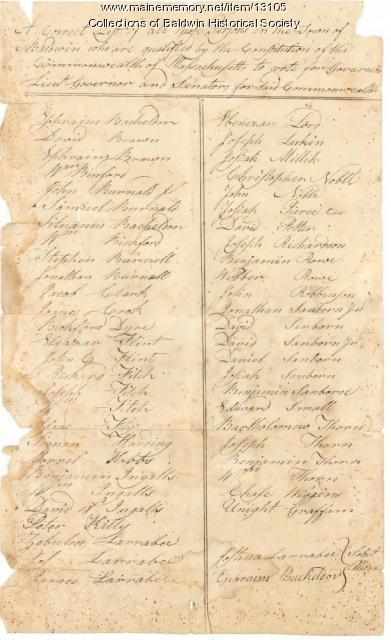 Voter list, Baldwin, 1804