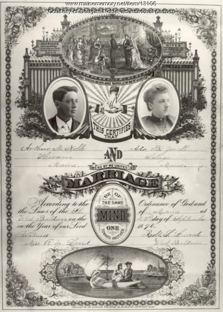Noble marriage certificate, West Baldwin, 1896
