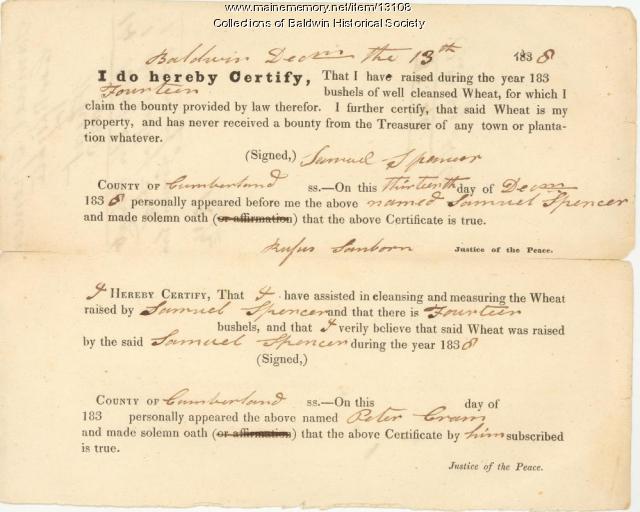 Samuel Spencer claims bounty for wheat, Baldwin, 1838