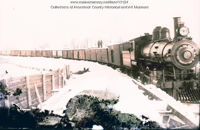 Bangor and Aroostook Railroad engine 48, Houlton, c. 1900