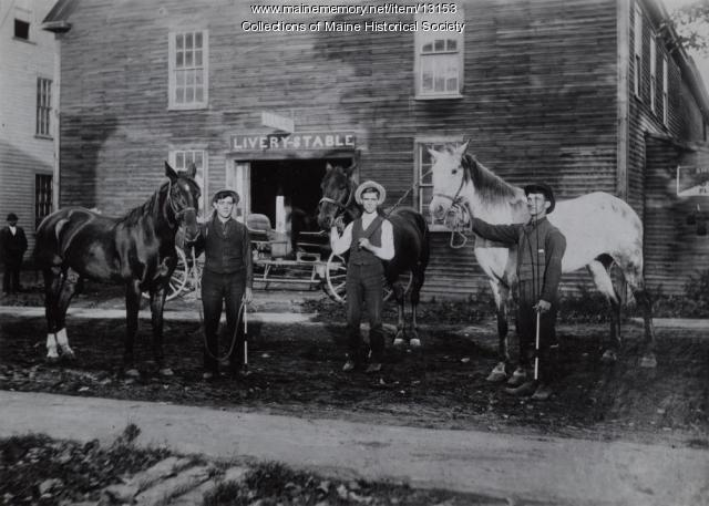 Pride's Livery Stable, Westbrook, ca. 1914