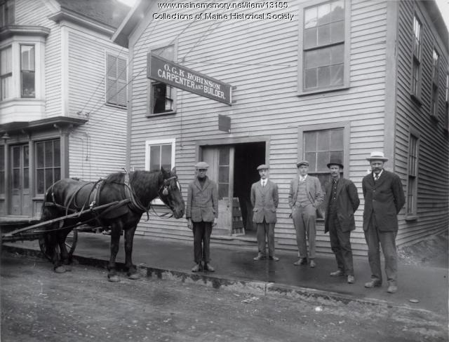 O.G.K. Robinson's shop, Westbrook, 1914