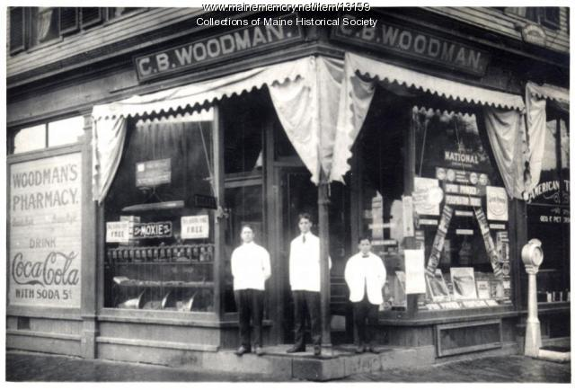 C.B. Woodman Pharmacy, Westbrook, ca. 1900
