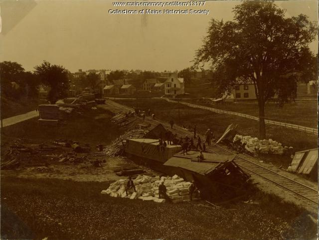 Railroad wreck, Westbrook, ca. 1890