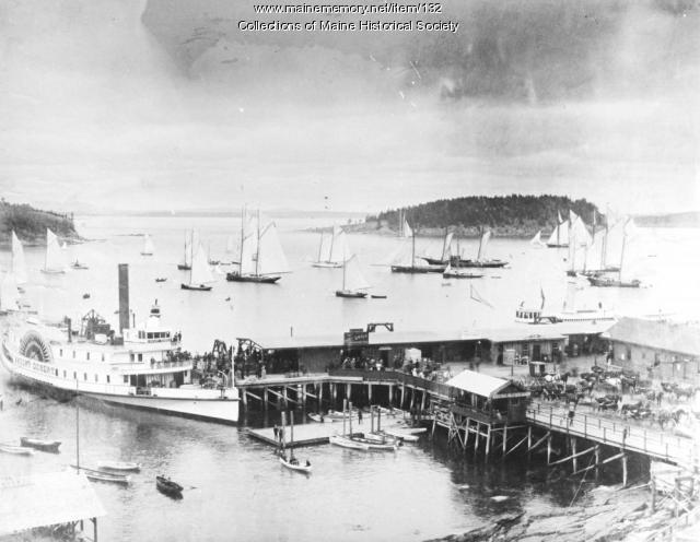 Mount Desert Steamship at the Bar Harbor wharf, ca. 1890