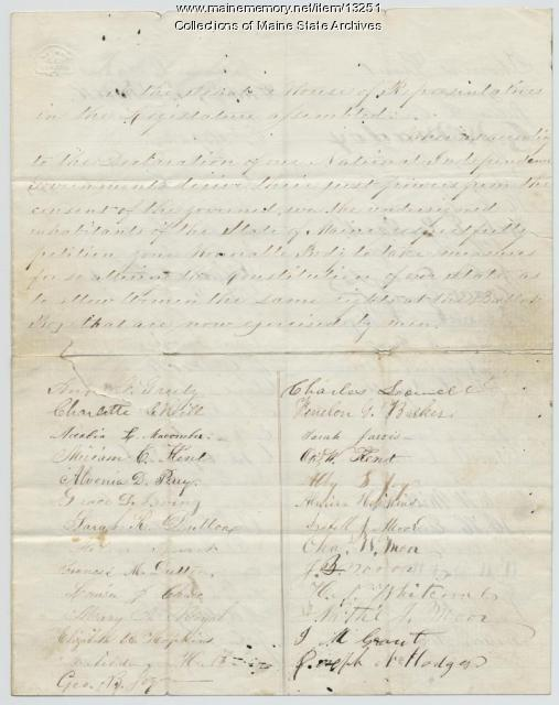 Maine woman suffrage petition, 1858