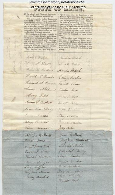 Temperance petition, 1845