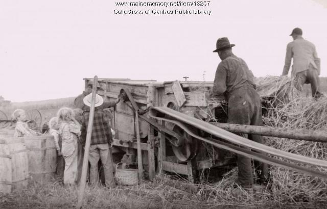 Grain thresher, Caribou, ca. 1930