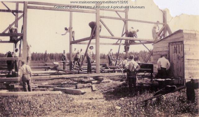 Barn raising, Littleton, ca. 1900