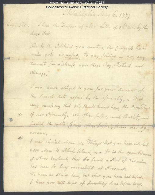 Letter from John Adams to Samuel Freeman, May 6, 1777