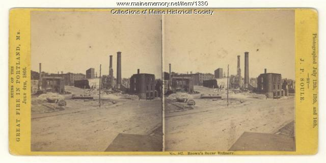 Brown's Sugar Refinery ruins after fire, Portland, 1866