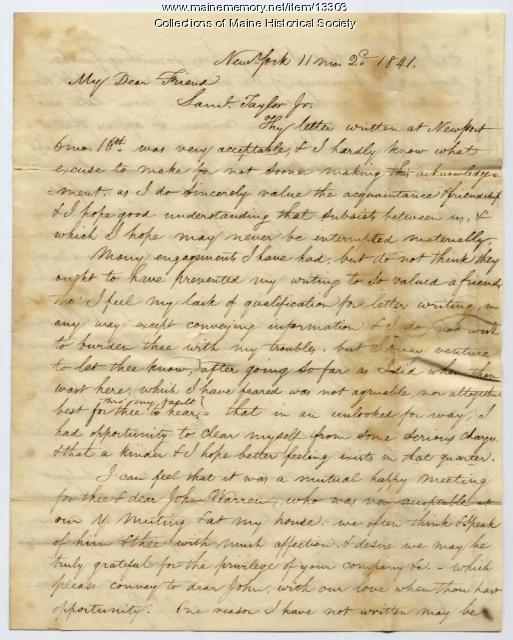 Henry Hinsdale letter on Indians, abolition, New York, 1841