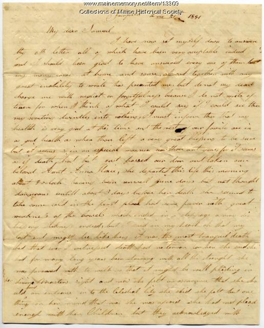Lydia Taylor letter to husband, Samuel, 1841