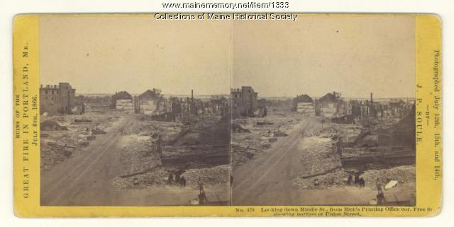 Fire ruins, Middle Street, Portland, 1866
