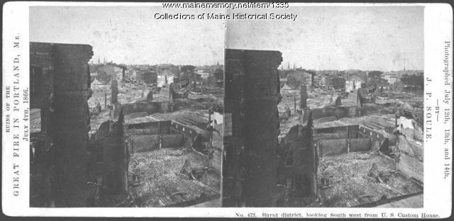 Ruins, looking southwest from U.S. Custom House, Portland, 1866