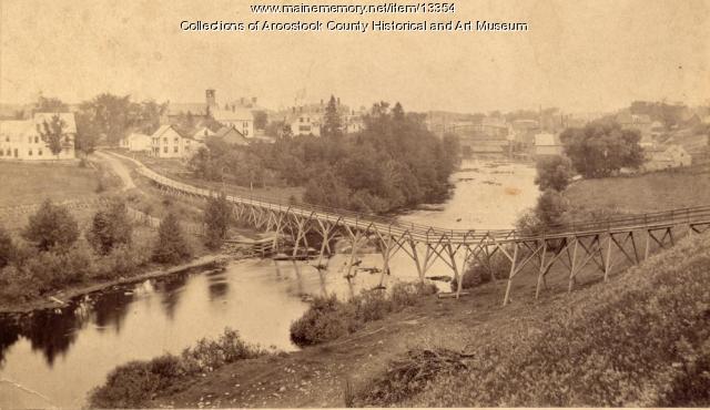 Foot Bridge on Meduxnekeag River, Houlton, 1890