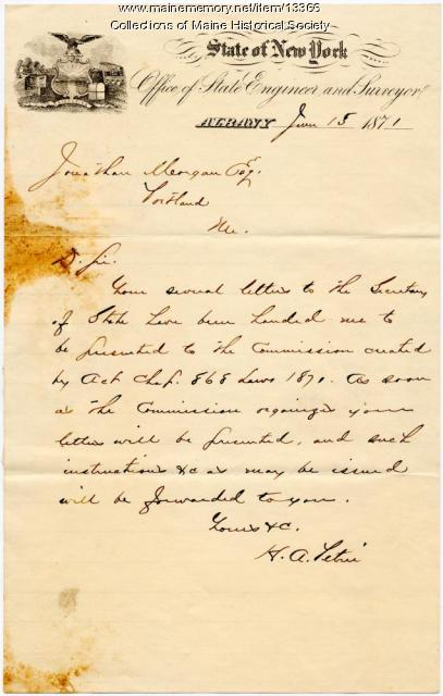 Letter acknowledging receipt of steam boat plans, 1871