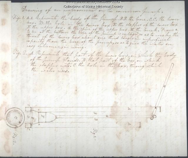 Jonathan Morgan plans for pump, 1823