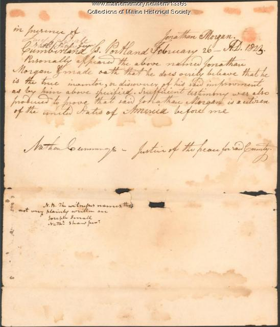 Testimony concerning pump invention, 1823