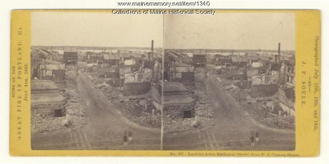 Exchange Street after 1866 fire, Portland