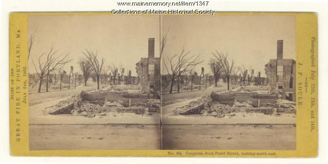 Congress Street after Great Fire, Portland, 1866