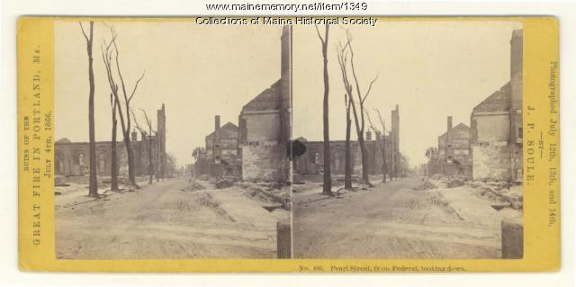 Pearl Street, Portland, after fire of 1866