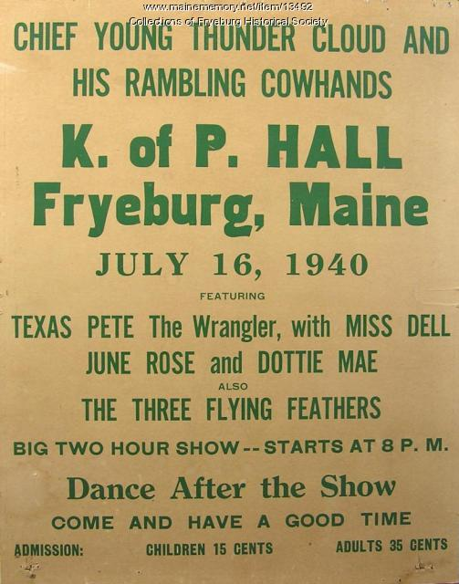 Performance poster, Fryeburg, 1940