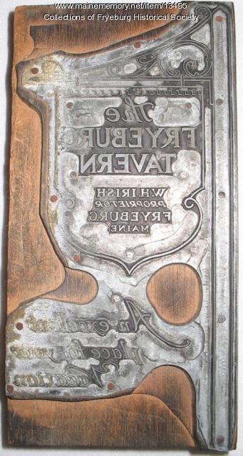 Fryeburg Tavern printing plate