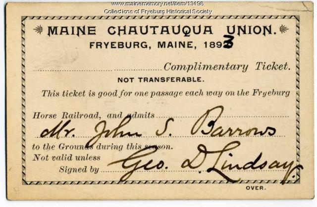 Complimentary ticket, Maine Chautauqua Union