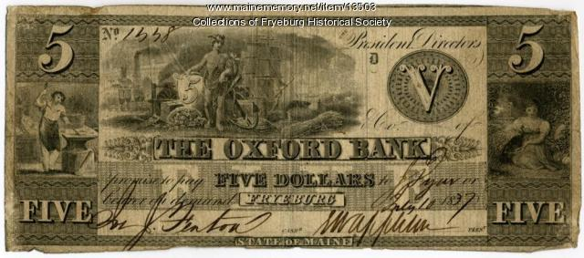 Oxford Bank note, Fryeburg, 1837