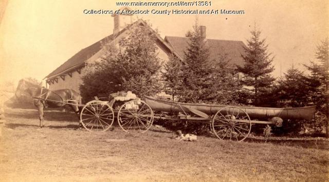 Birchbark canoe on calamity, ca. 1890