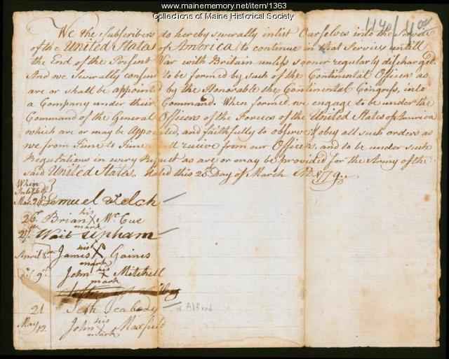 Revolutionary War enlistment paper, March 25, 1779