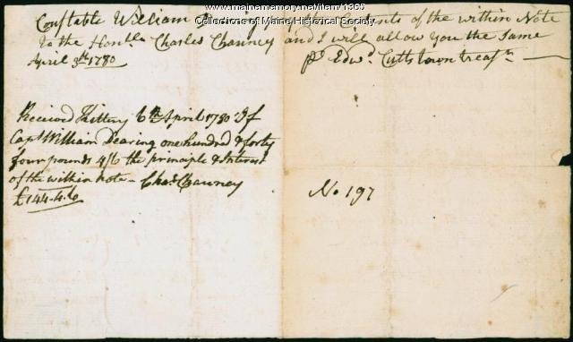 Bounty money for Charles Chauncy, 1780