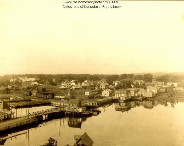 Aerial View of Kennebunk Lower Village, 1880s