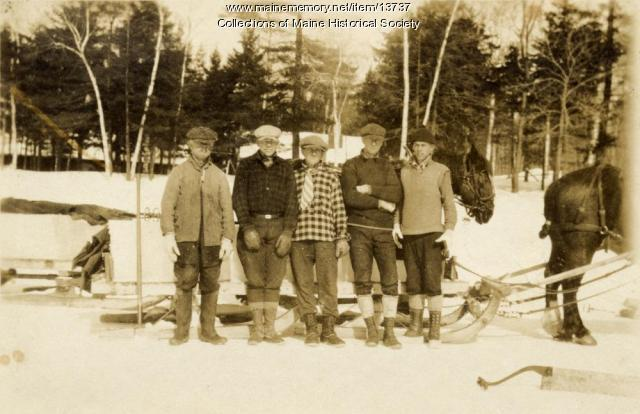 Ice cutting crew, Sebago Lake, ca. 1920