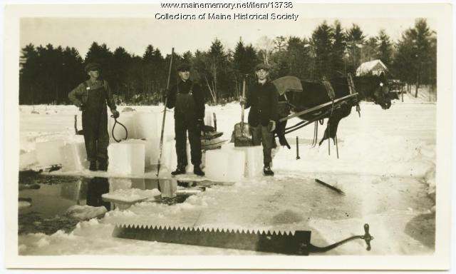 Blocks of ice, Sebago Lake, ca. 1920
