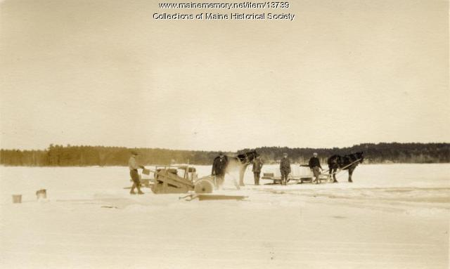 Ice cutting, Sebago Lake, ca. 1920