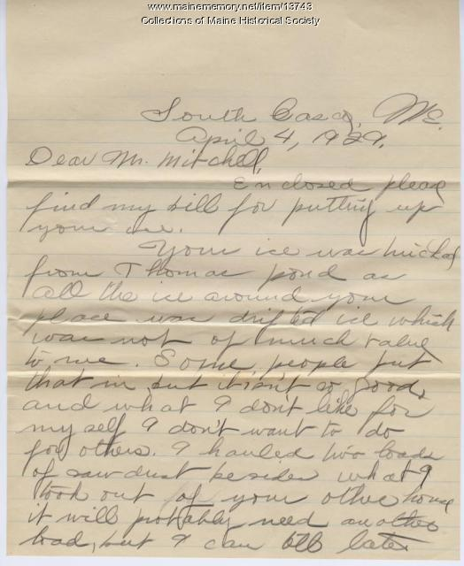 Letter concerning ice delivery, South Casco, 1929