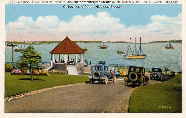 Postcard of Casco Bay from Fort Allen Park