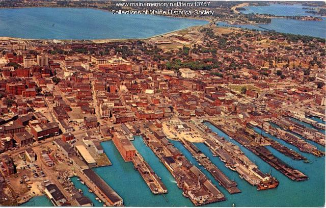 Aerial view of Portland Harbor, ca. 1950