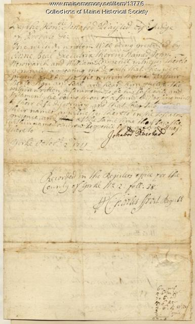 Last Will and Testament of Arthur Beal, 1699