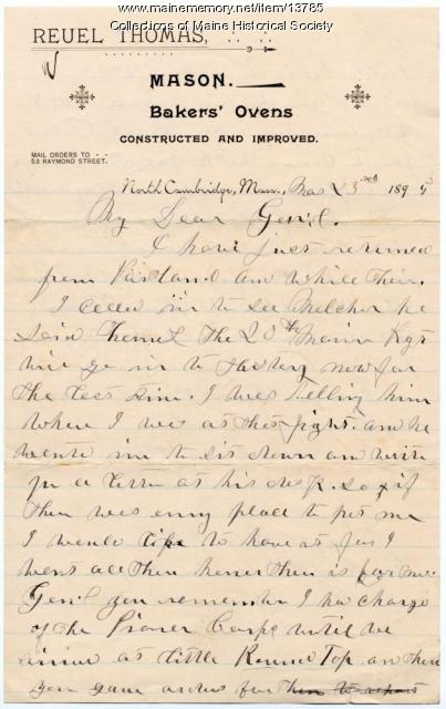 Letter from Sgt. Reuel Thomas to Gen. Joshua Chamberlain, 1895