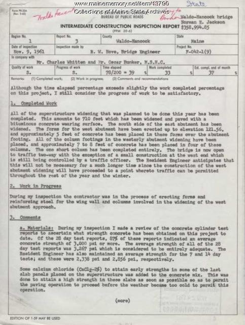 Intermediate Construction Inspection Report, November 9, 1961