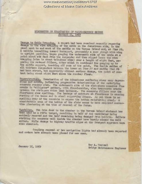 Memorandum of Examination of Waldo-Hancock Bridge January 15, 1959